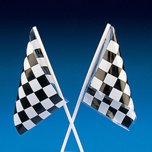 24 Black and White Checkered Racing Nascar Flags Party Favors Loot (White Loot Bags)