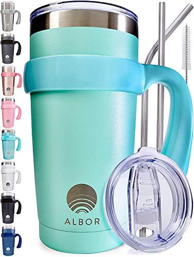 Albor Triple Insulated Stainless Steel Tumbler 20 oz Seafoam Coffee