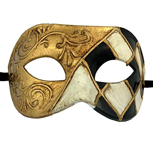 Xvevina Black Gold Masquerade Mask for Men Party