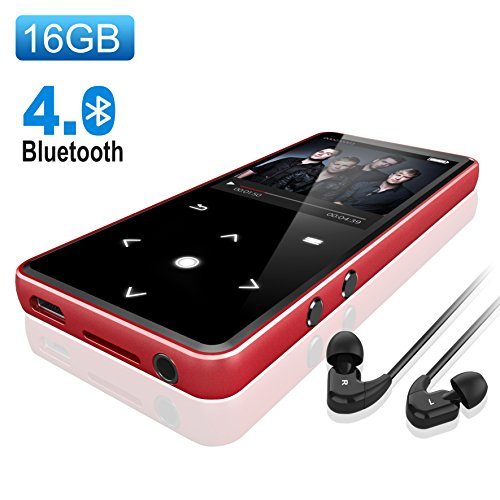 Bluetooth 4.0 MP3 Player,Valoin 16G 2.4 Inch HD Screen Lossless Sound Digital MP3 Player with FM Radio/Voice Recorder/E Book,Support Up to 64G TF Card (Red)