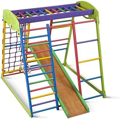 KindSport Centro de Actividades con tobogán ˝Unga˝, Red de Escalada, Anillos, Escalera Sueco, Campo de Juego Infantil: Amazon.es: Juguetes y juegos
