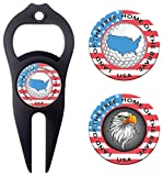 Hat Trick Openers 6-in-1 Golf Divot Tool & Poker Chip Marker Set with USA Logo, Black