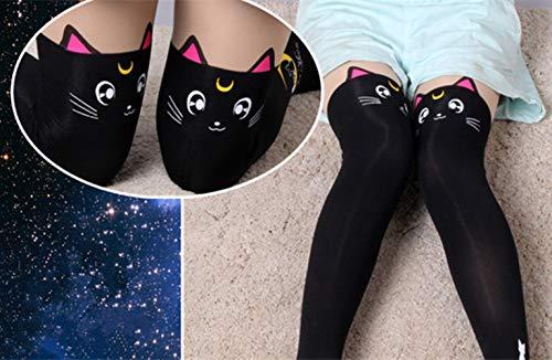 00ca44e0e9878 MIUNIKO Women's Cute Anime Sailor Moon Luna Cat Printing Legging Tights  Socks Cosplay Costume Pantyhose