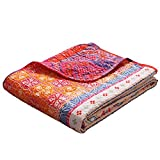 Exclusivo Mezcla Luxury Reversible 100% Cotton Multicolored Boho Stripe Quilted Throw Blanket 60' x 50' Machine Washable and Dryable