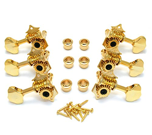 (3+3 Gold Tuning Pegs Tuners Machine Heads Acoustic Butterbean Guitar Wilkinson)