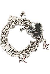 Disney Women's Mickey Mouse Shaped Dial Charm Bracelet Watch (Silver-Tone)