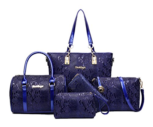 Yan Show Women's Shoulder Bags Totes Patent Leather Handbags With Matching Wallet Purse 5 Pieces Set /Brown Blue