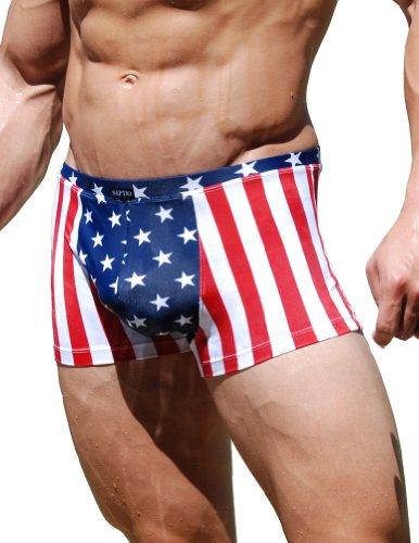 Neptio Men's Stars & Stripes Square Cut Swimwear Size:Medium (Square Cut Trunk Print)
