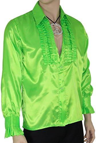 FOXXEO Camiseta Verde de Volantes para Hombres Camiseta de Estrella del Pop Discoteca Verde para el Disfraz de Carnaval de Fiesta de Carnaval, Talla L: Amazon.es: Juguetes y juegos