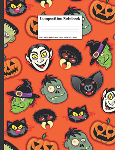 Composition Notebook: Halloween Vampire Monsters Pumpkins Witch