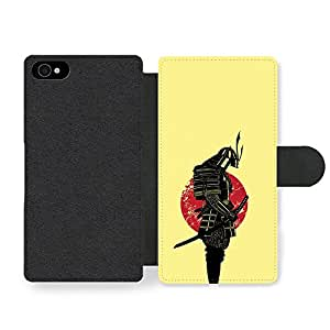 Samurai Martial Arts Fighter In Black Sabre With Japan Flag Cool Style Illustration Faux Leather case for iPhone 4 4S