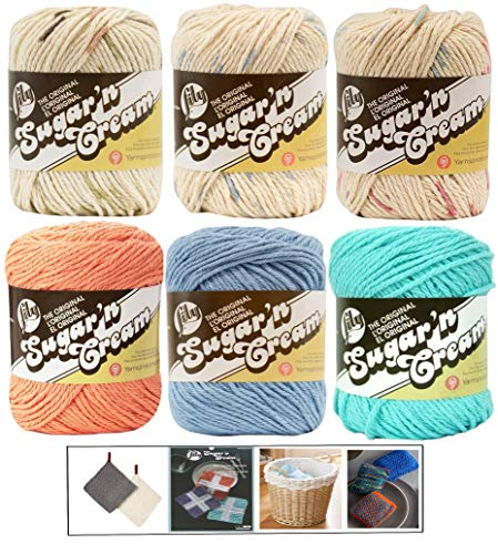 (Variety Assortment Lily Sugar'n Cream Yarn 100 Percent Cotton Solids and Ombres (6-Pack) Medium Number 4 Worsted Bundle with 4 Patterns (Asst AG))