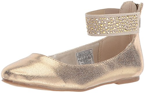Image of Nine West Girls' FAYE2 Ballet Flat, Gold Shimmer, 4.5 Medium US Big Kid