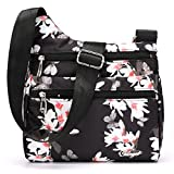 STUOYE Nylon Multi-Pocket Crossbody Purse Bags for Women Travel Shoulder Bag (Magnolia Flower)