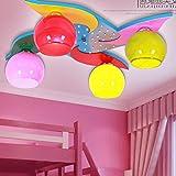 BGmdjcf Kindergarten children LED decoration light ceiling light 4 windmill cartoon lamps men and women baby bedroom lighting , plus remote control