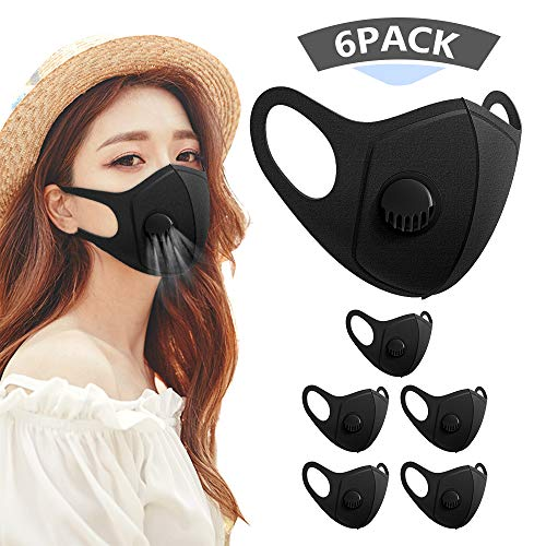 6 Pack Face Masks, Anti Dust Mask with Breathing Valve, Skin-friendly Unisex Mouth Mask, Reusable & Washable Masks for…