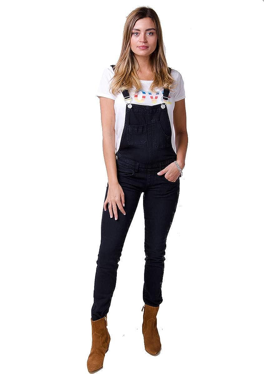 Wash Clothing Company Peto Mujer - Negro Overalls Peto Corte Slim ...