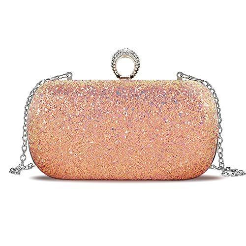 Color Pink Handbag Multi (Beautier Multi-color Sparkling Purse Elegant Evening Party Handbags for women (Pink))