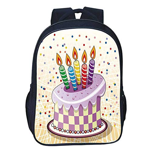 Birthday Decorations Durable Double black backpack,Creamy Cake Illustration with Candles Retro Polka Dots Stars Striped For classroom,11.8