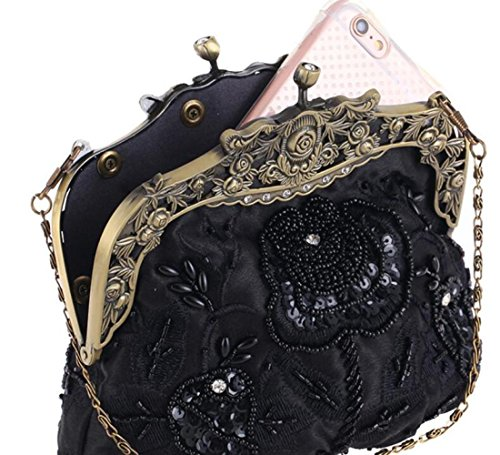 Mariée Cheongsam Black Satin Wlfhm De Classique Sac Soirée Mode Perlé Vintage Broderie wqZZIg5pn