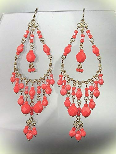 GORGEOUS Coral Red Crystals Peruvian Beads Gold Chandelier Dangle Earrings For Women Set B9