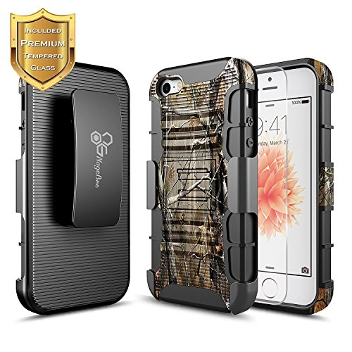 (iPhone SE / 5S / 5 Case with [Tempered Glass Screen Protector], NageBee [Heavy Duty] Armor Shock Proof Dual Layer [Belt Clip] Holster [Kickstand] Combo Rugged Case for Apple iPhone 5/5S/SE -Camo)