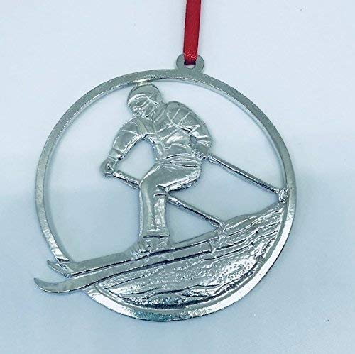587 Snow Skiing Ski Coach Athlete Ornament Pewter