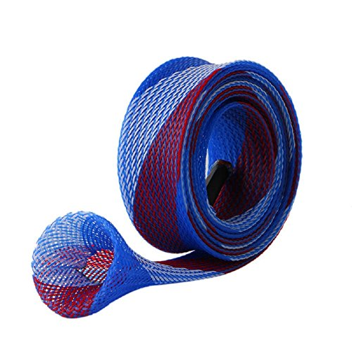 Kocome 30mm DIY Casting Fishing Rod Braided Sleeve Pole Glove Cover Protector Durable (Blue)