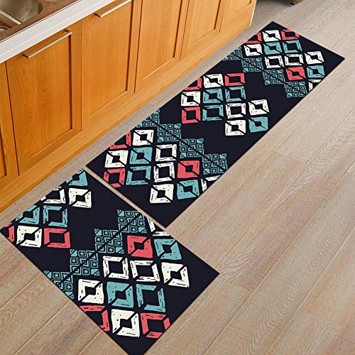 Nordic Kitchen Mats Rubber Back Pad Non-Slip Area Rug For Dining Living Hallway Bathroom Entry Carpet - 2 Pcs,B,5080+50160