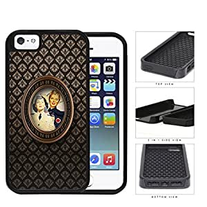 Retro Nurse Photograph With Brown Damask Pattern iPhone 5 5s (2-piece) Dual Layer High Impact Cell Phone Case