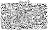 MUUHOO Crystal Clutch for Women Rhinestone Evening Bag (Silver), Medium
