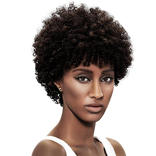 Afro 5 Short Curly Wigs with 100% Brazilian Hair (DARK BROWN, Natural Spiral Curls) - Afro Wigs for Black Women - Human Hair Wigs - Short Wigs Capless Wigs - Beauty Personal Care Afro Wig