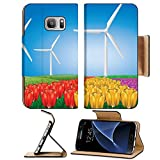 Luxlady Premium Samsung Galaxy S7 Flip Pu Leather Wallet Case IMAGE ID: 19429691 Wind turbines on colorful tulips field background