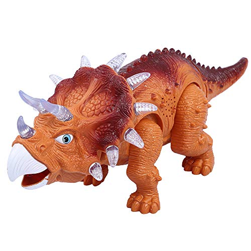 ERollDeep Dinosaur Toys, Electric Walking Dinosaur with Sound & Flashing Lights Triceratops Dinosaur Toys Best Gifts for Boys & Girls