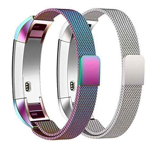 iTerk Compatible Fitbit Alta HR Alta Bands, Stainless Steel Metal Replacement Wristband Milanese Loop Mesh Adjustable Small Large