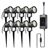 ZUCKEO 5W LED Landscape Lights with Transformer 12V 24V Waterproof Garden Pathway Lights Warm White Walls Trees Flags Outdoor Spotlights with Spike Stand (8 Pack with Transformer)