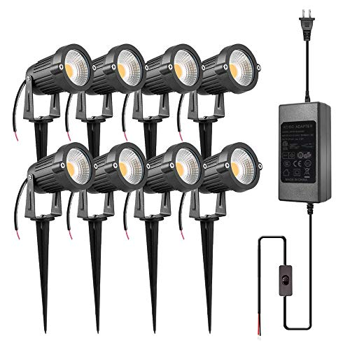 (ZUCKEO 5W LED Landscape Lights with Transformer 12V 24V Waterproof Garden Pathway Lights Warm White Walls Trees Flags Outdoor Spotlights with Spike Stand (8 Pack with Transformer))