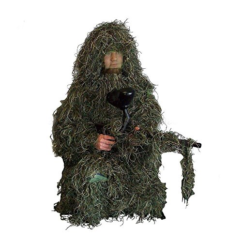 Ghillie Suit 5-Piece Sniper Camo Woodland Camouflage Forest Hunting 3D Clothing