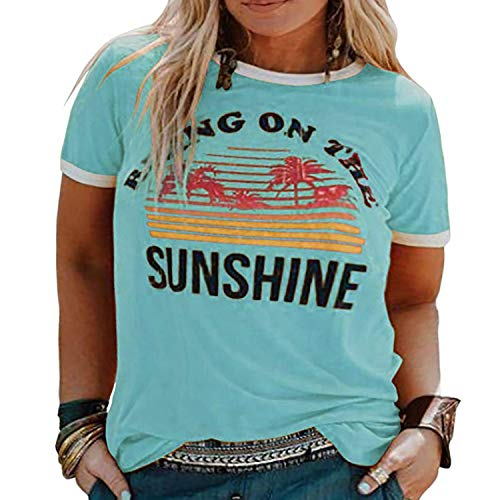 YASAKO Plus Size Women Tops Short Sleeve T Shirts Bring On The Sunshine Casual Tee Shirts Cute Graphic Tunic (Baby Blue, 3X-Large)