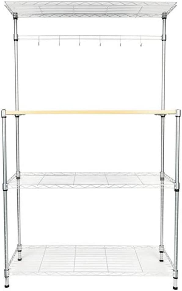 Bakers Rack Organiser Side Organizer with Hanging Hooks 4-Tier Powder Coating with MDF Board Microwave Oven Rack