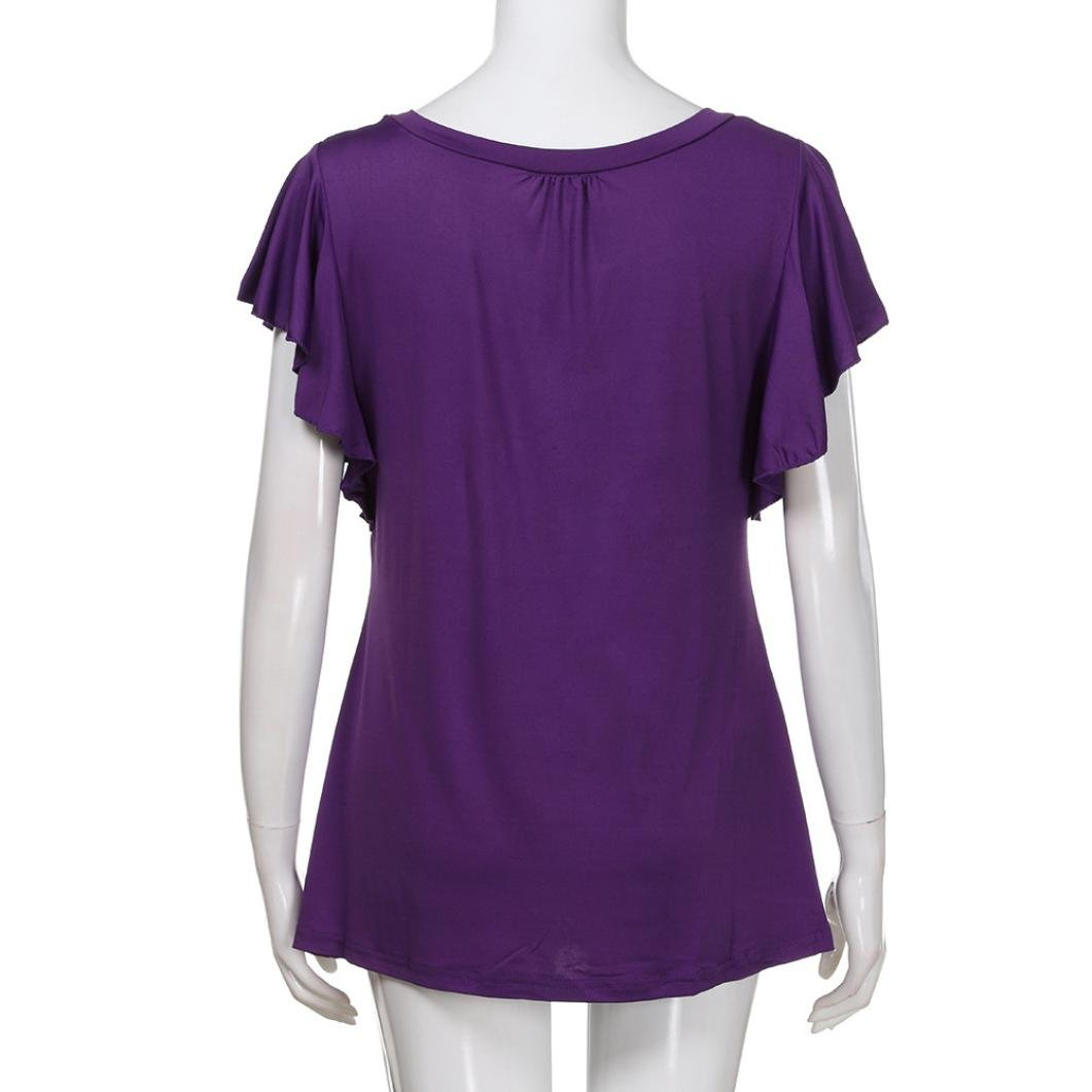 Pervobs T-Shirt Big Women Summer Short Sleeve O Neck Solid Pleated Tops Casual Loose Flowy Tee Shirt Tunic