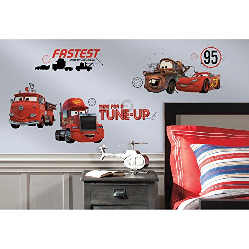 Wall Car Graphic - RoomMates Cars - Friends to the Finish Peel and Stick Wall Decals