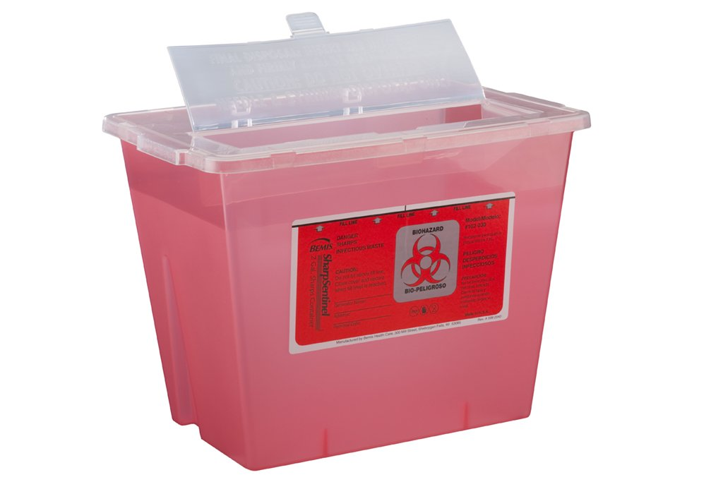 Bemis Healthcare 102030-5 2 gal Sharps Container, Translucent Red (Pack of 5)