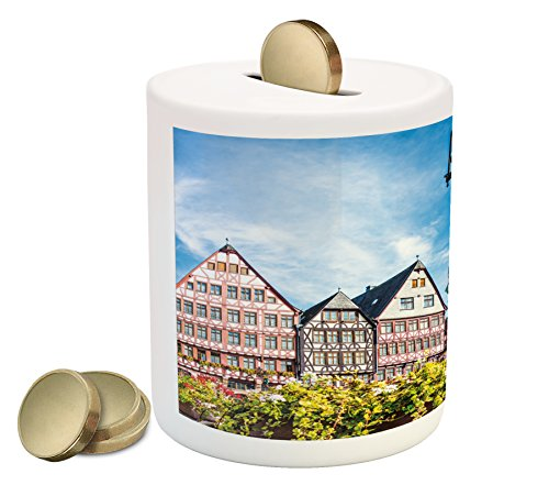 Ambesonne European Piggy Bank, Old City of Frankfurt Germany with Historical Buildings Statue Cityscape Scenery, Printed Ceramic Coin Bank Money Box for Cash Saving, Multicolor