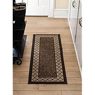Diagona Designs Contemporary Moroccan Trellis Design Non-Slip Area Rug Runner, 31  W x 118  L, Brown & Beige