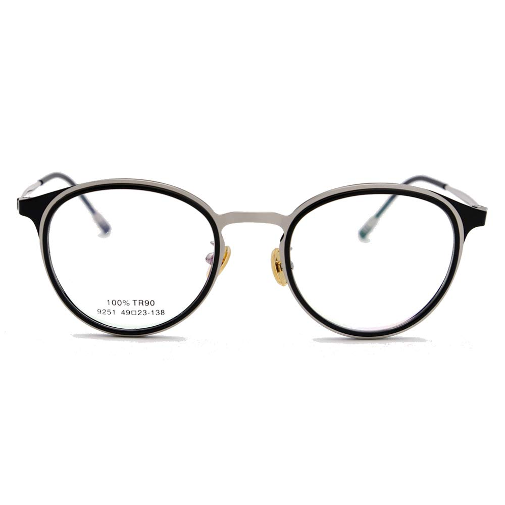 ec8db3be35 Amazon.com  Natwve Co Stainless Designer Optical Frame Glasses for women  man Round Shape(9251) (Dark Black with Silver)  Clothing