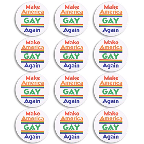 Pride Rainbow Button - Juvale LGBT Pins - 12-Pack Make America Gay Again Pinback Button Pins with Rainbows for LGBTQ Gay Pride Parade - 3 Inches Diameter