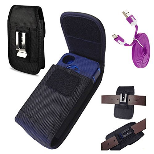 Rugged vertical EX large nylon pouch with belt loop+duty metal clip holster + FREE Micro USB Charger Data Sync Cable For SAMSUNG GALAXY S4 S3 with Lifeproof Waterproof case on (By All_Instore)