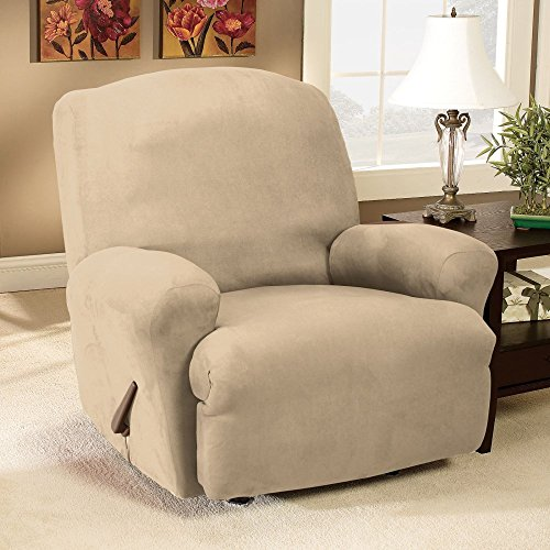 Beau Sure Fit Stretch Suede   Recliner Slipcover   Taupe (SF35369)