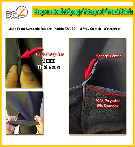 (Neoprene Bonded Sponge Waterproof Wetsuit Fabric Black 1MM, 2MM, 3MM, 4MM, 5MM Thick Sold by The Foot (4MM - by The Foot))